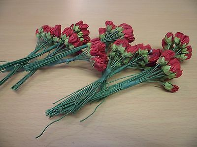 Job Lot Of Wired Red Paper Roses - Card Embellishments, Scrapbooking, Etc
