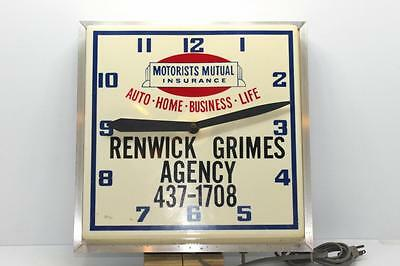 Vintage Motorists Mutual Insurance Company Advertising Clock Lighted & Working
