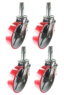 "4 pcs Scaffold Caster 6"" x 2"" Red Wheels w/ Locking Brakes 1-3/8"" Stem 2800 lbs."