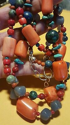 """DTR Jay King Orange Coral Turquoise Multi Stone 2 Strand Sterling Necklace 21"""""""