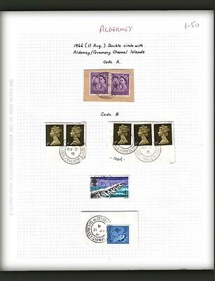 ALDERNEY : Postmarks study on GB & Guernsey stamps.
