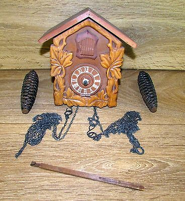 Vintage wooden Swiss cockoo clock for spares or repair
