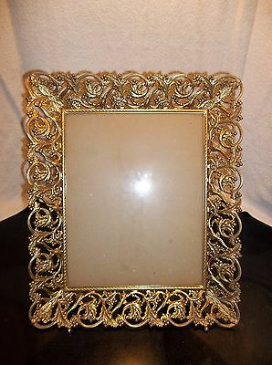 """Vintage Mid Century Ornate Gold Metal Filigree Picture Frame Wall Easel  8x10"""""""