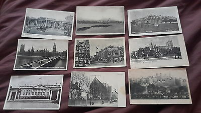 9 x Old postcards of London - St Andrews' Church Plaistow, The Thames with St P
