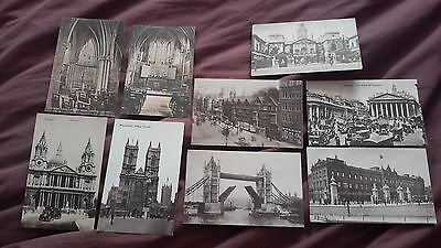 9 x Old postcards of London - St John's Church Red Lion Square, Horse Guards, Bu