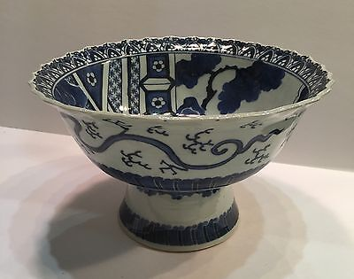 Chinese Blue & White Pedestal Bowl Tazza