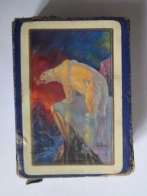 1930s Box Of Playing Cards With A Polar Bear Picture By Harry Rountree.