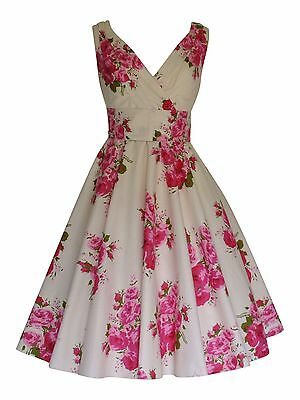 Summer Vintage Pink Rose Flower Bridesmaid Cotton Party Prom Tea Dress BNWT 14