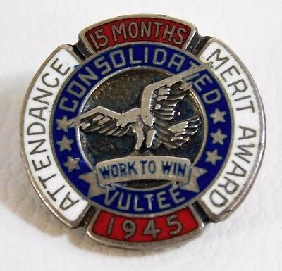 Vtg Id Wwii Era Consolidated Vultee Sterling Silver 15 Month Service Pin Badge