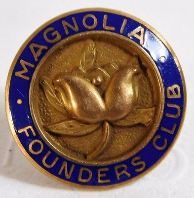 Atq 1917 MAGNOLIA PETROLEUM OIL COMPANY FOUNDERS CLUB 10K GOLD Enamel LAPEL PIN