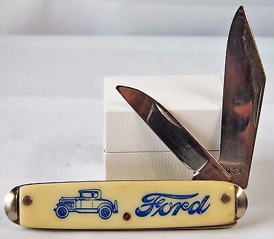Vtg Advertising Ford Model T Car 2 Blade Pocket Knife