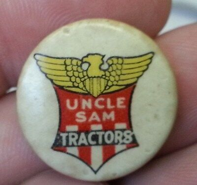 Old 1920s UNCLE SAM Tractors Advertising Celluloid PINBACK BUTTON