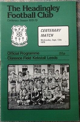 1978 HEADINGLEY v PRESIDENTS XV - CENTENARY MATCH programme