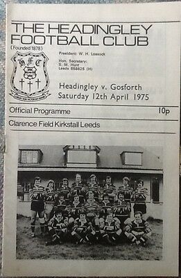 1975 HEADINGLEY v GOSFORTH programme