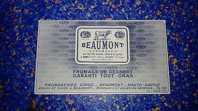 Buvard publicitaire ancien Fromagerie Fromage Beaumont