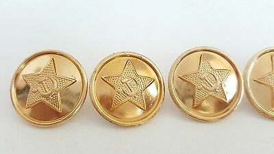 Hammer and Sickle in Star Soviet Union Buttons Set of 6 Cyrillic Script on Backs
