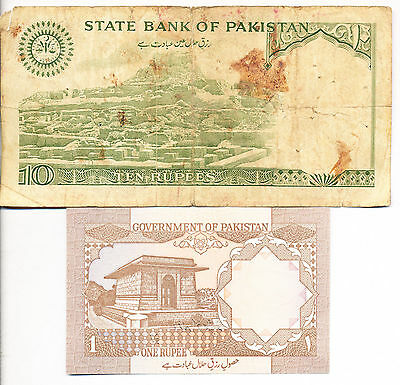 Lot (2) Pakistan Notes **one Rupee & Ten Rupees** Two Exceptional Notes!