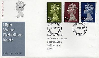 GB  1977 £1, £2 & £5 high value Post Office FDC with neat typed address