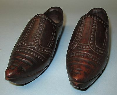 Antique Dutch Hand Carved Wood Shoes Netherlands Holland 19th century Wooden