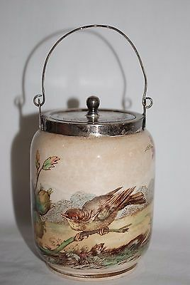 Antique - Small Painted Porcelain Jar - Bird with Floral - Lidded with Handle