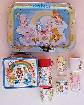 Vtg. CARE BEAR Metal TV Serving Tray + Lunchbox w/thermos + Glasses, Cups 1980's