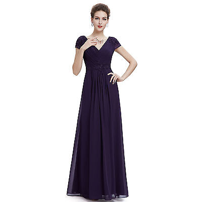 US Chiffon Cap Sleeve Long Maxi Dress Bridesmaid Prom Ball Gown Cocktail Party