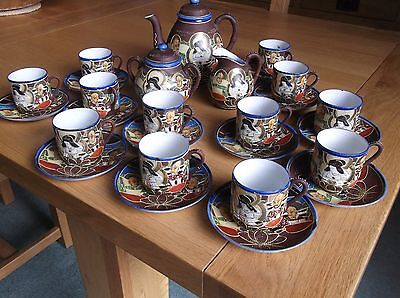 Lovely Japanese Full Coffee Set With Marks Underneath