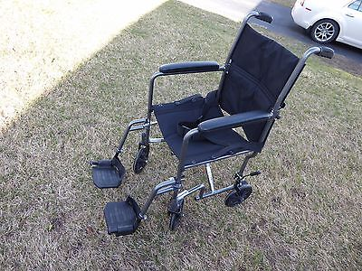 """Drive Steel Transport Chair 19"""" Silver Vein Frame TR39E-SV Excellent Pre Owned!"""