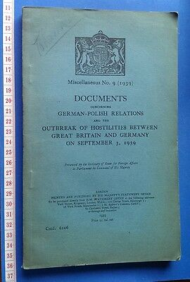 WW2 Book: German-Polish Relations, Outbreak of Hostilities Britain & Germany 39