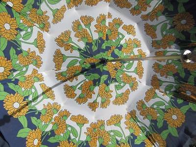 Fabulous Vintage Retro Floral Parasol Ornate Handle White Metal