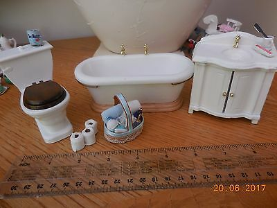 Dolls House Bathroom with accessories and basket of toiletry items12th scale