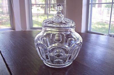 Vintage Lidded Glass Jar in Eyewinker Style