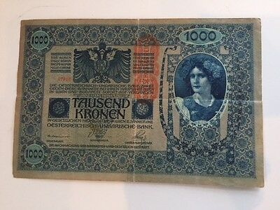 Austro-Hungary banknote - 1000 Tausend Kronen - with stamp - year 1902 -  woman