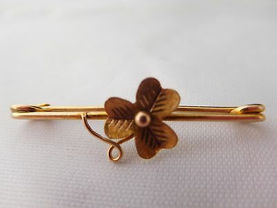 9Ct Gold Clover Bar Brooch (Tests As 9Ct)