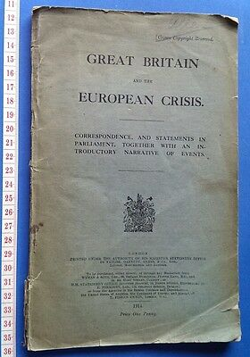 WW1 Book: Great Britain and The European Crisis. 1914. Official Statements