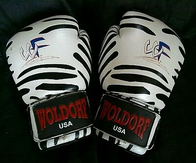 WOLDORF USA Sparring boxing Zebra gloves top grade genuine cowhide leather