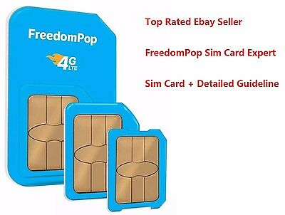 FreedomPop 3-in-1 4G LTE SIM Card 700MB Pre-activated + Detailed Guideline