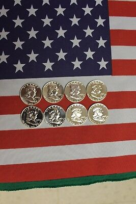 1956-1963 Franklin Proof Half Dollar Run - 90% Silver - 8 coin set