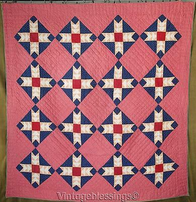 "ANTIQUE c1880 Wild Goose Chase QUILT 78"" x 74"" Great Condition (ng)"