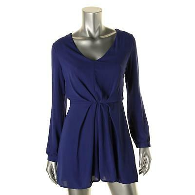 Lush 1953 Womens Blue Chiffon V-Neck Long Sleeve Romper M BHFO
