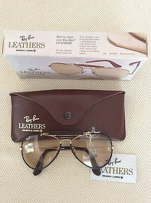 Vintage Ray Ban Leathers Brown Outdoorsman 58Mm B&l Sunglasses