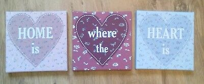 'Home is where the heart is' 3 piece wall art