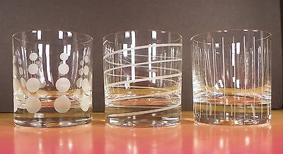 Mikasa Crystal Cheers Double Old Fashioned Tumbler (s) LOT OF 3 Barware Signed