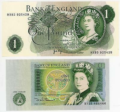 GB Pair of Bank of England £1 Banknotes in Lovely Condition