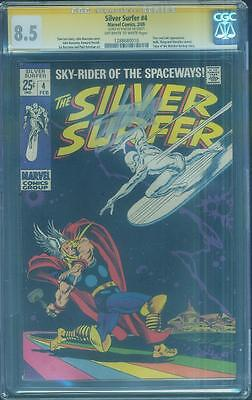 Silver Surfer 4 CGC SS 8.5 Stan Lee Auto 1969 vs Thor John Buscema Cover OW/W