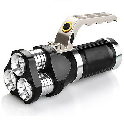 Rechargeable LED Searchlight Tactical Flashlight 3T6 Spotlight 9000 Lumens Black