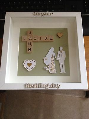 Hand Made Scrabble Frame Wedding Day Personalised Names - Gift - Keepsake
