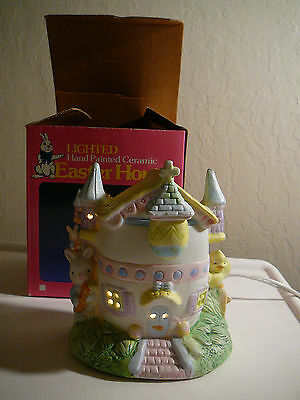 Lovely Lighted Hand Painted Ceramic Easter House