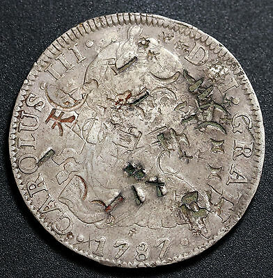 1787 Mexico 8 Reales  Carlos III Silver Coin Chopmarked Chinese Characters Rare
