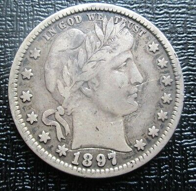 1897 USA Barber Silver Quarter Dollar